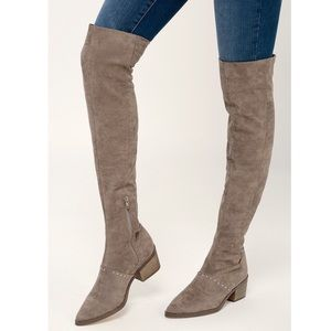 NEW REPORT Zaria Taupe Over the Knee Boots $99